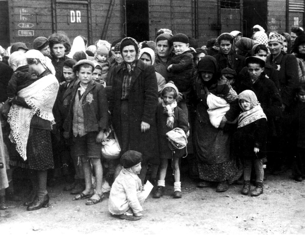 German Nazi death camp Auschwitz in Poland, arrival of Hungarian Jews, Summer 1944
