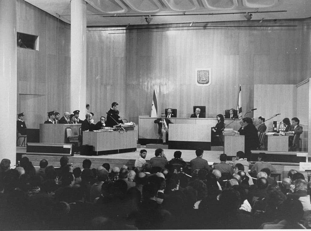 View of the courtroom during the trial of John Demjanjuk. Chief defense counsel Mark J. O'Connor addresses the court during the first session of the trial.