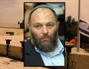 Effi Eitam in 2002; background Yad Vashem in 2020 (Getty Images)